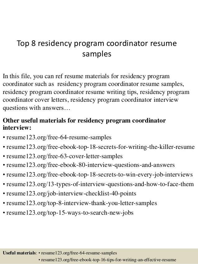 sample cv for residency application