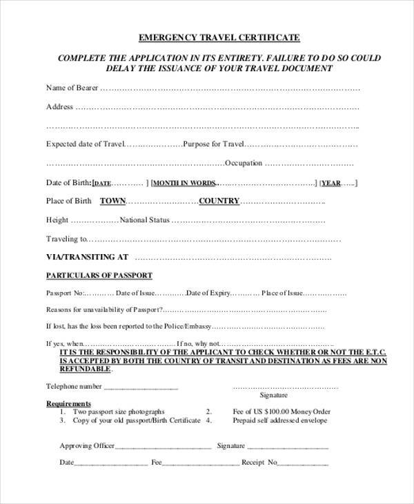 download travel document application form