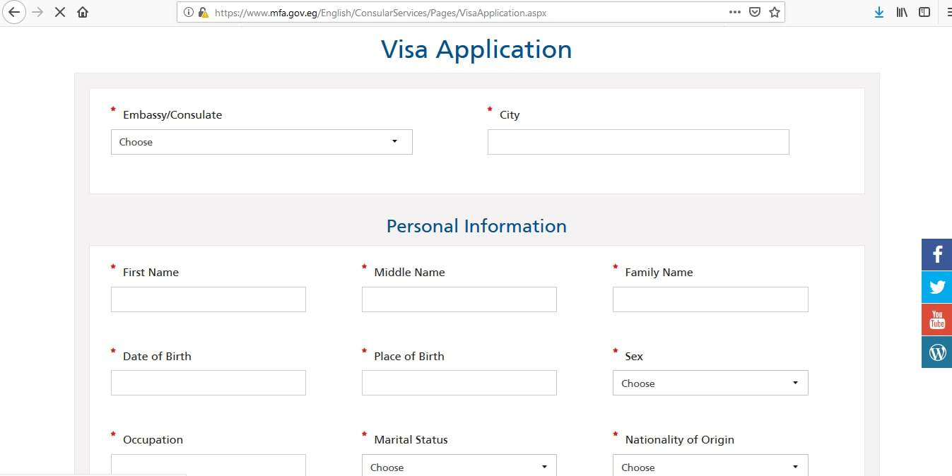 egypt tourist visa application form pdf