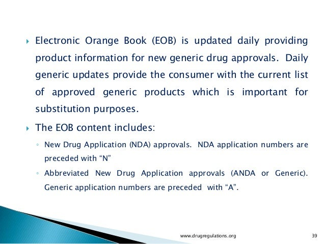 fda orange book application number