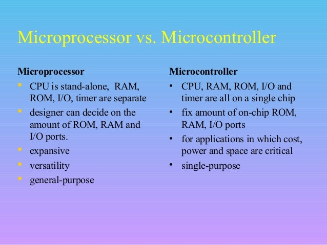 application of microprocessor and microcontroller