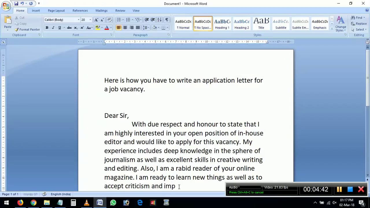 how to write application letter for job vacancy