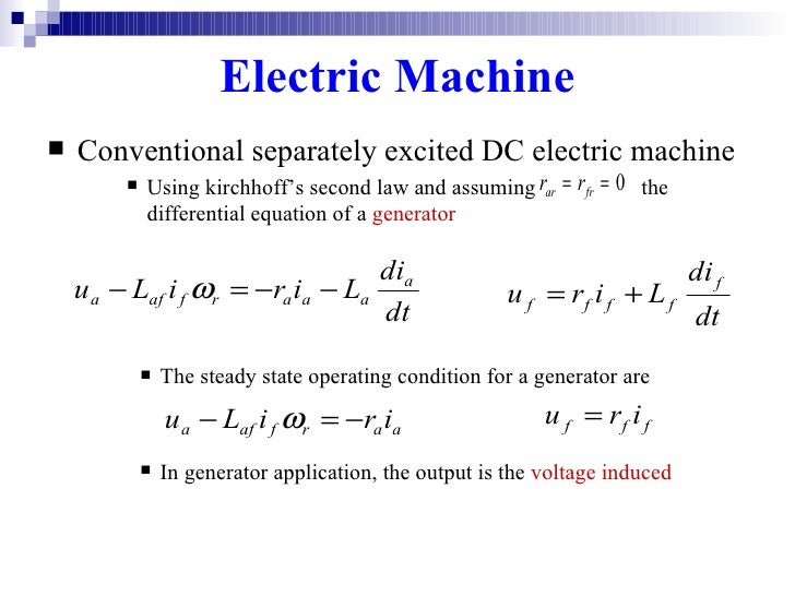 application of separately excited dc generator