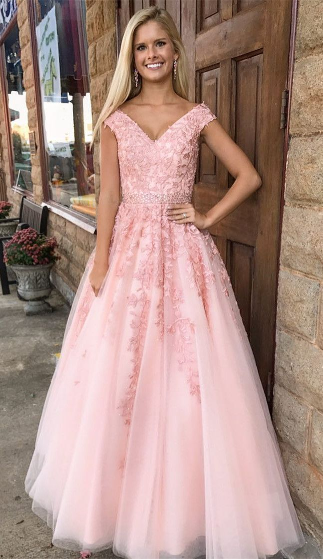 long v neck prom dress with beaded lace applique