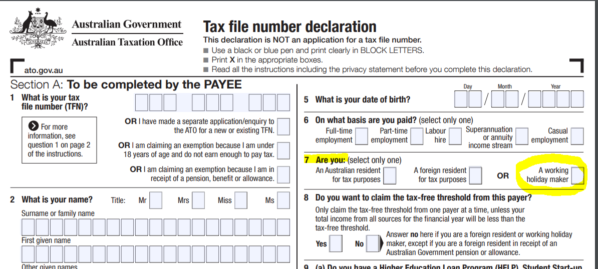 ato tax file number application