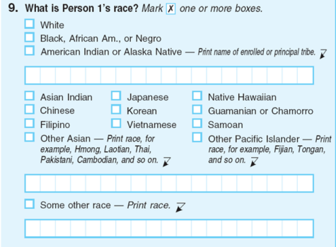 race in application form for indian