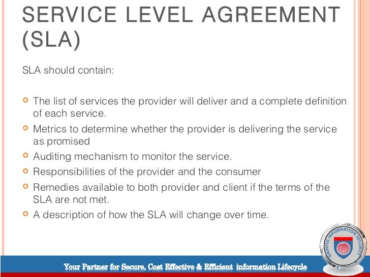 sample service level agreement for application support