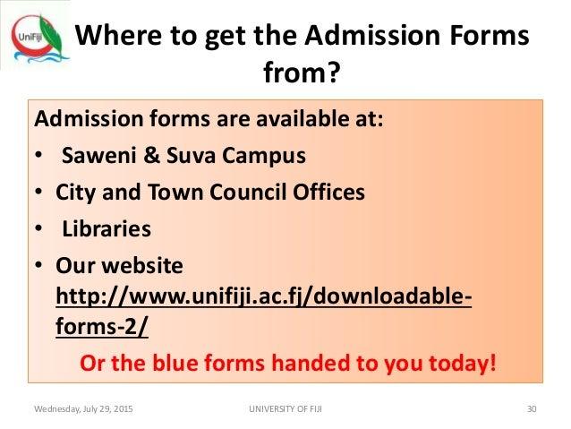 university of fiji application form