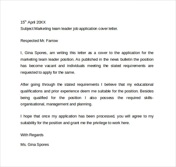 how to right a cover letter for a job application