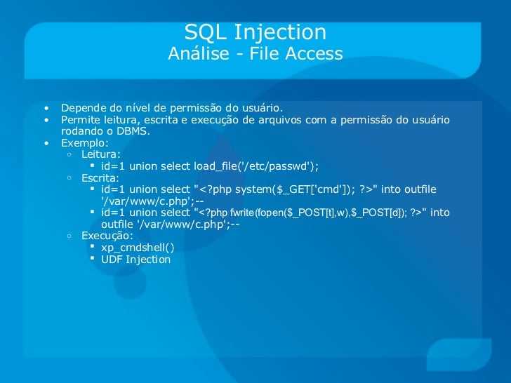 how to test sql injection for web application