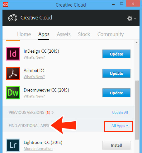 install a previous version of any creative cloud application