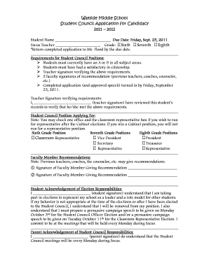 middle school student council application form