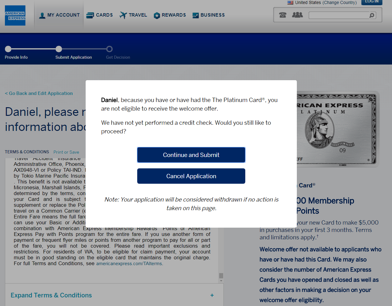 american express credit card application rules