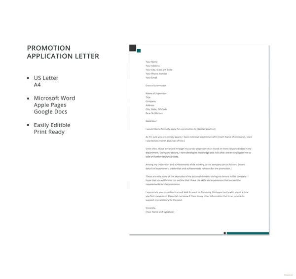 application for promotion in designation