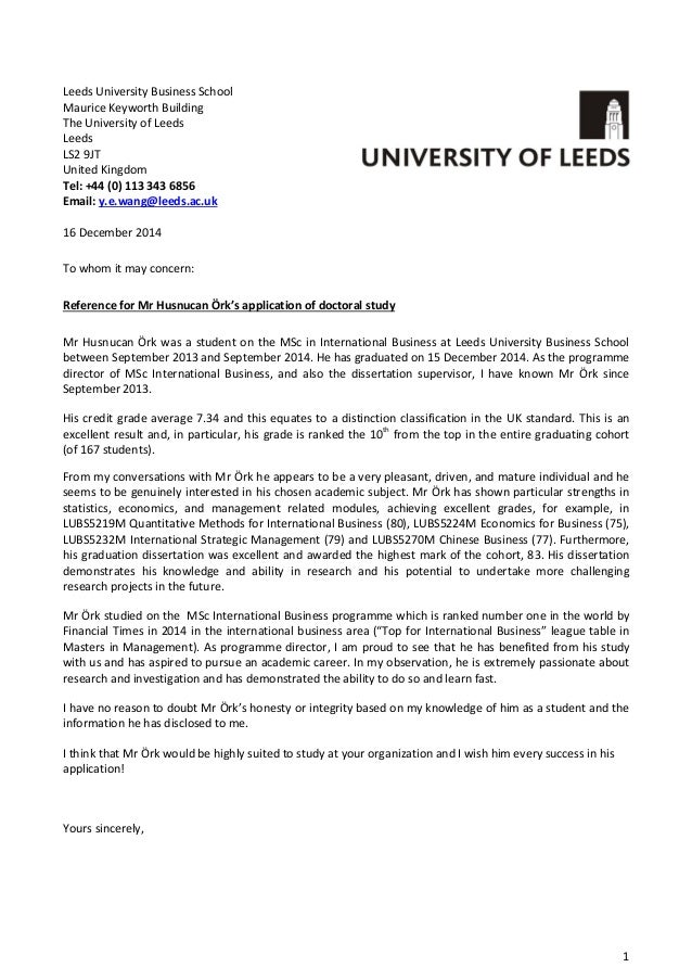 reference letter for university application