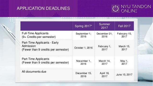 nyu application deadline fall 2017
