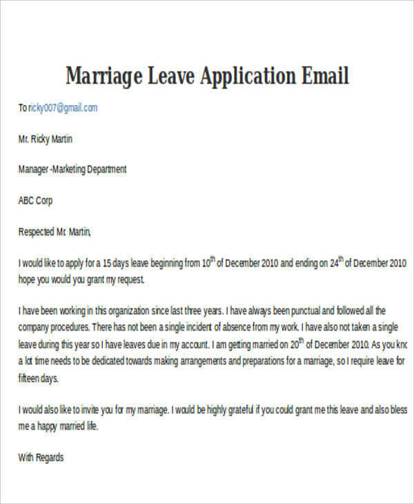 leave application for personal reason