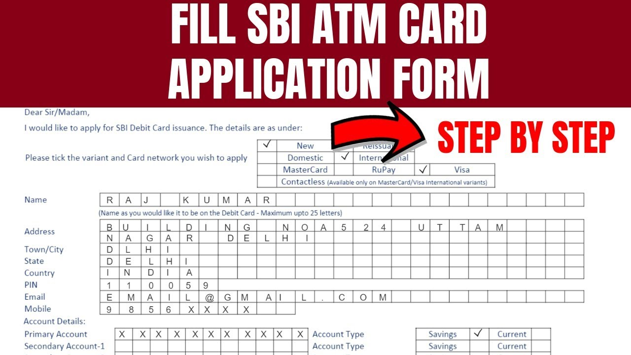 sbi atm card application form free download