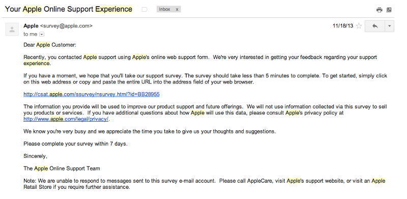 follow up email after job application