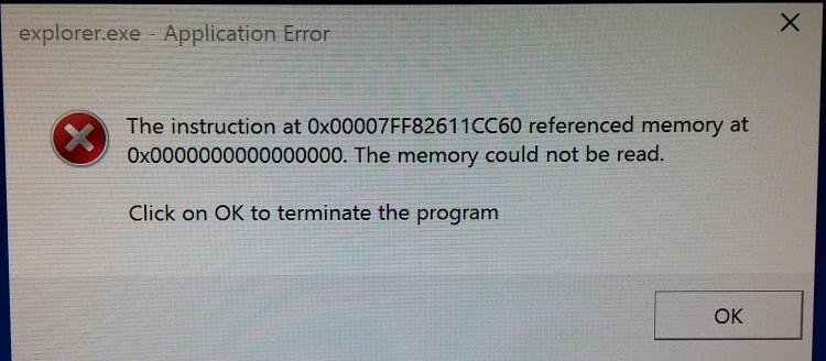 explorer exe application error 0xc0000018