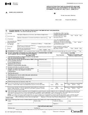 guaranteed income supplement application form 2012