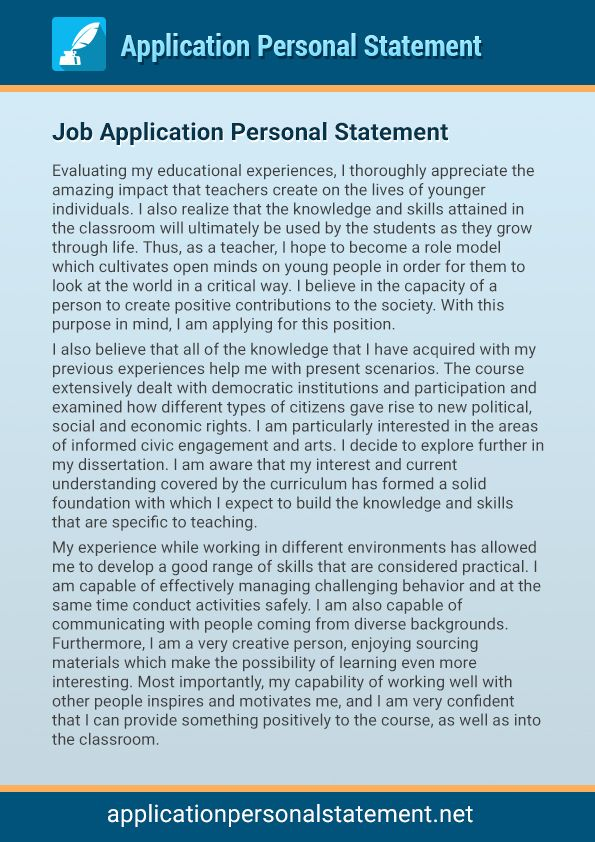 personal statement example for university application