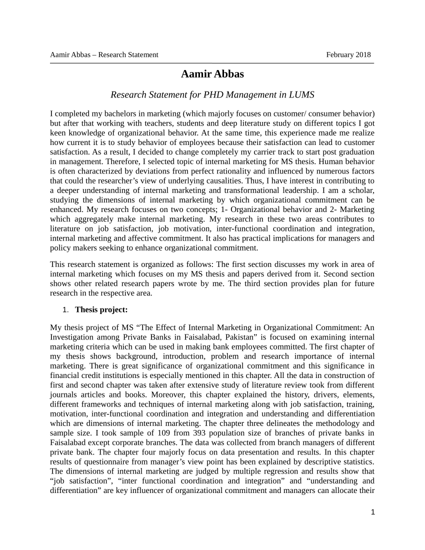 research statement sample for phd application