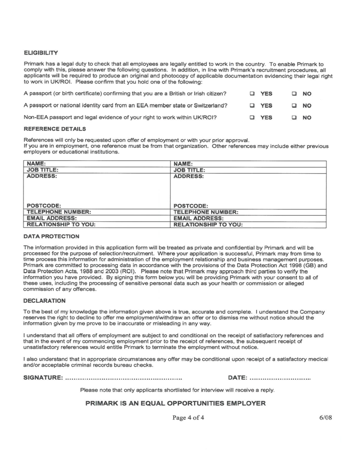 retail job application form answers