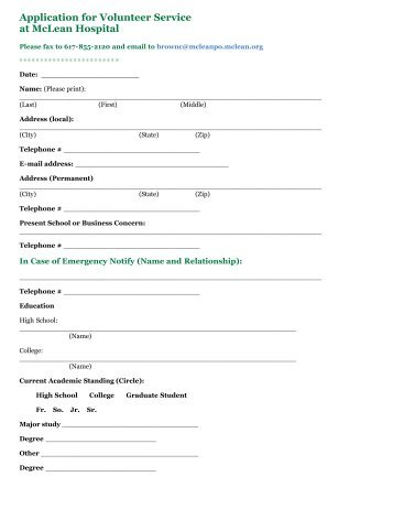 richmond hospital volunteer application form