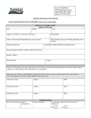taxi permit application form 2018